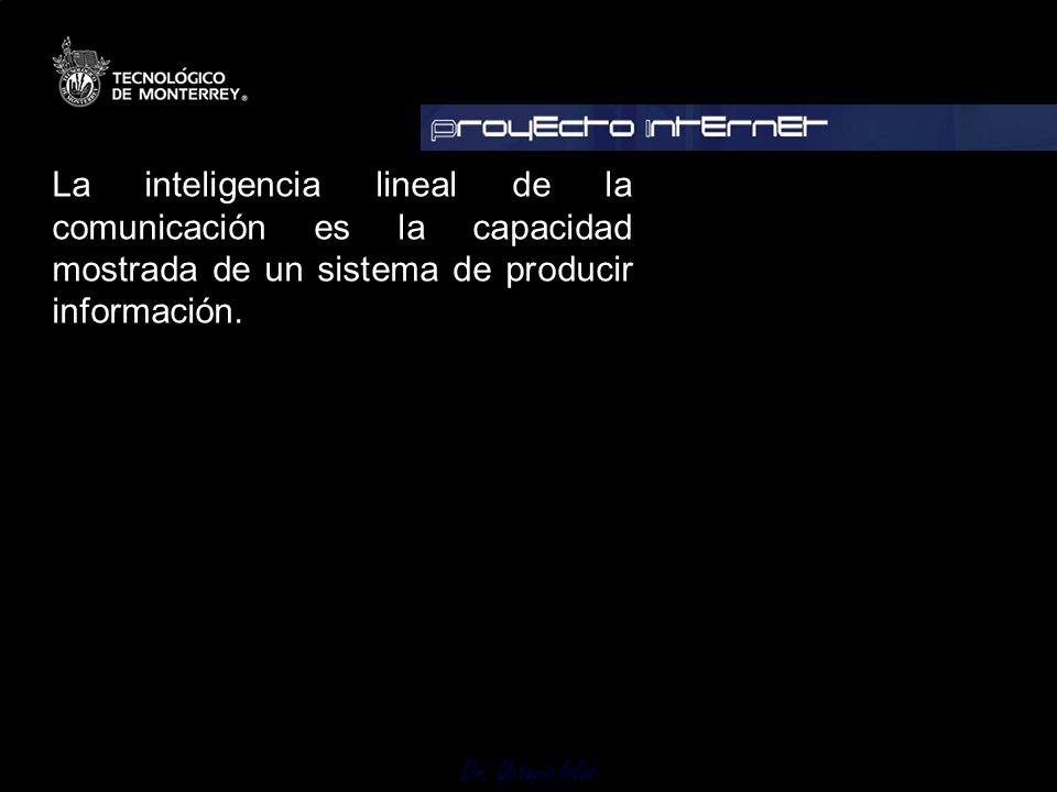 Dr. Octavio Islas La inteligencia lineal de la comunicación es la capacidad mostrada de un sistema de producir información.