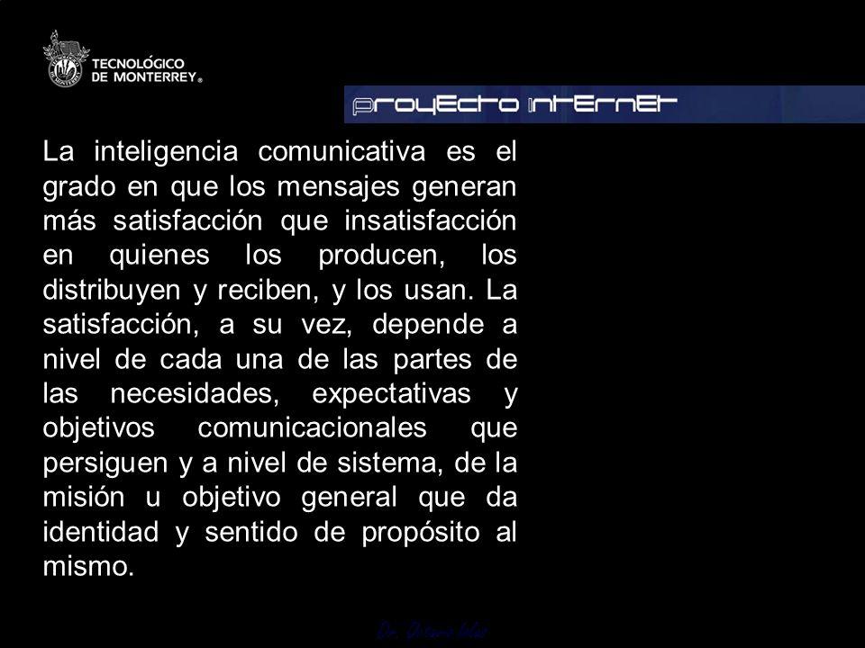 Dr. Octavio Islas La inteligencia comunicativa es el grado en que los mensajes generan más satisfacción que insatisfacción en quienes los producen, lo
