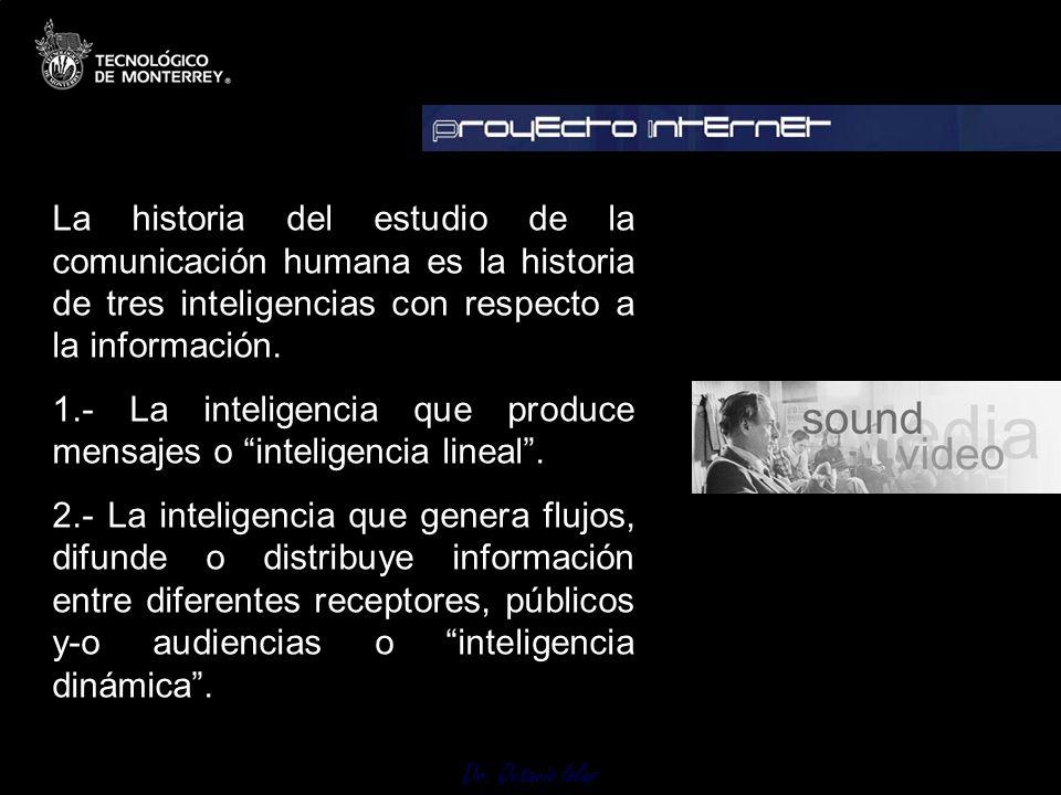 La historia del estudio de la comunicación humana es la historia de tres inteligencias con respecto a la información. 1.- La inteligencia que produce