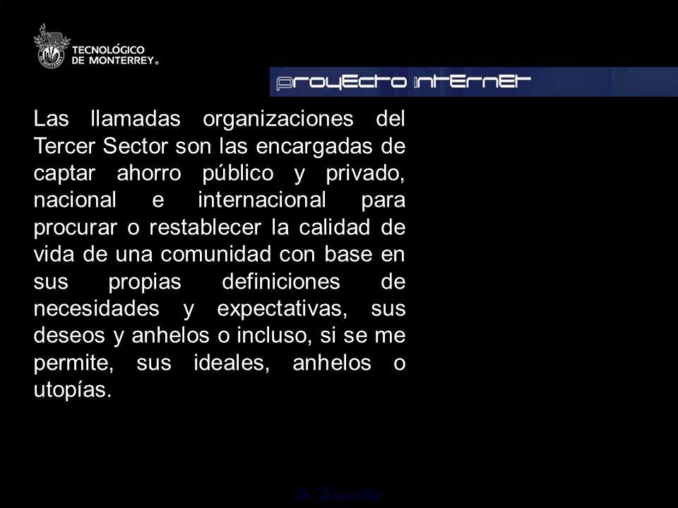Dr. Octavio Islas Las llamadas organizaciones del Tercer Sector son las encargadas de captar ahorro público y privado, nacional e internacional para p