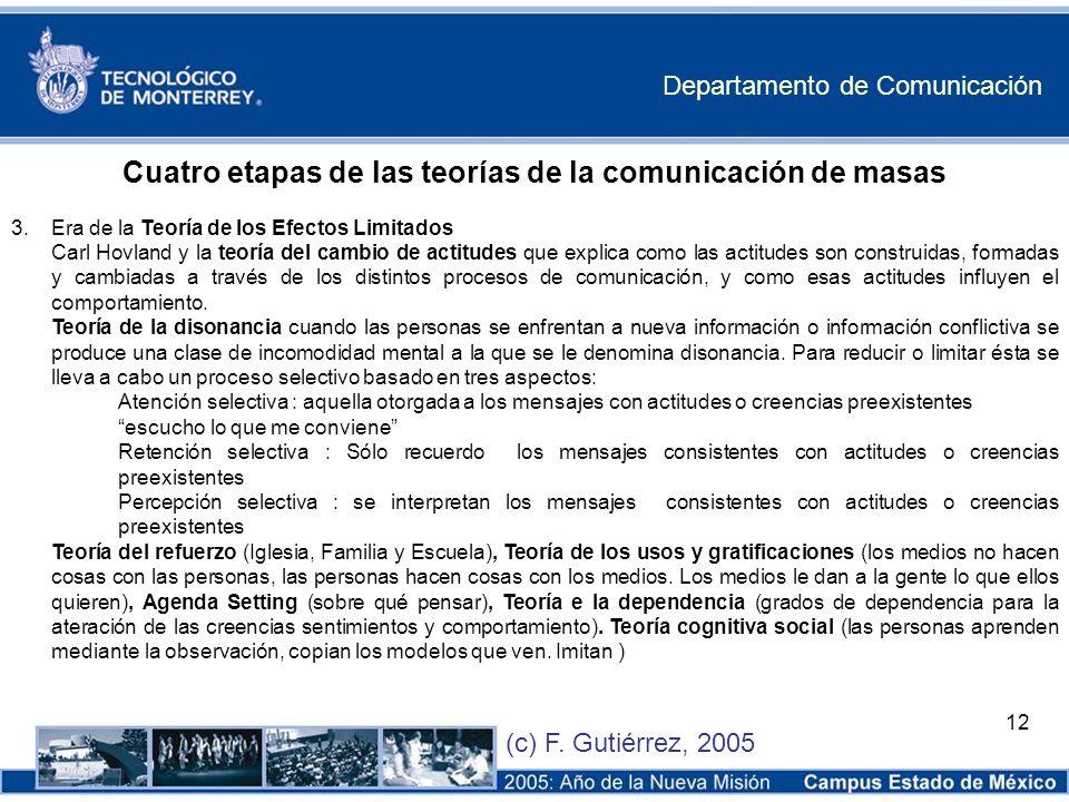 Departamento de Comunicación (c) F. Gutiérrez, 2005 12 Cuatro etapas de las teorías de la comunicación de masas 3.Era de la Teoría de los Efectos Limi