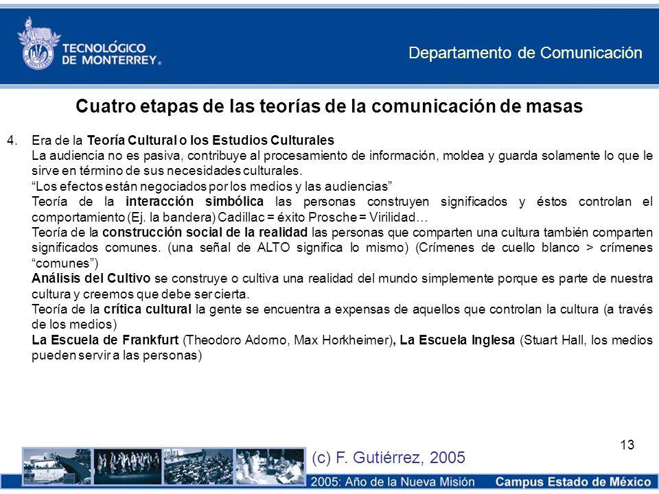 Departamento de Comunicación (c) F. Gutiérrez, 2005 13 Cuatro etapas de las teorías de la comunicación de masas 4. Era de la Teoría Cultural o los Est