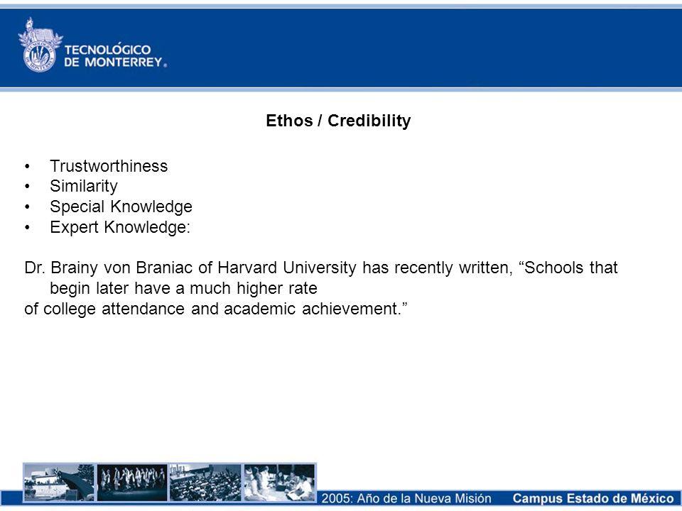 Ethos / Credibility Trustworthiness Similarity Special Knowledge Expert Knowledge: Dr. Brainy von Braniac of Harvard University has recently written,