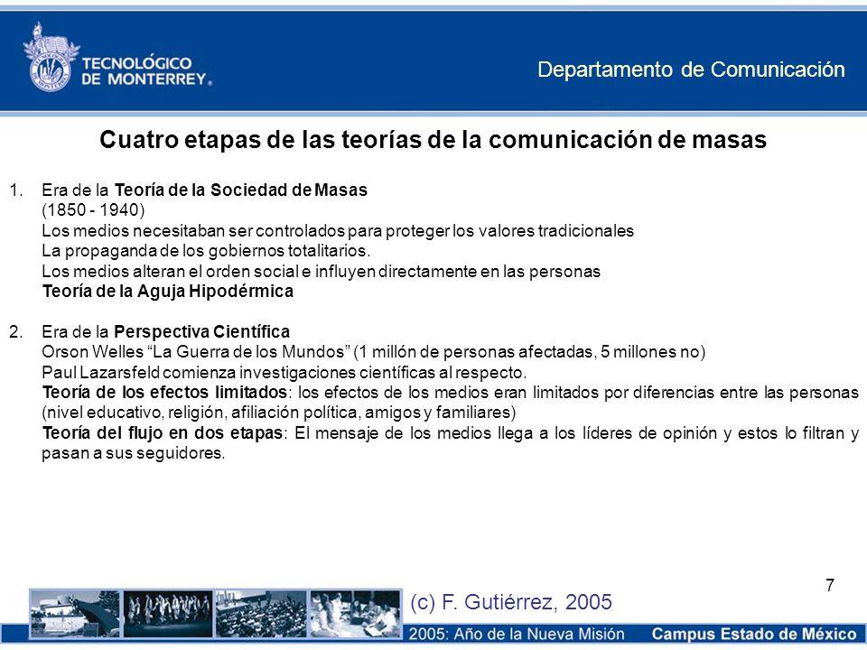 Departamento de Comunicación (c) F. Gutiérrez, 2005 7 Cuatro etapas de las teorías de la comunicación de masas 1.Era de la Teoría de la Sociedad de Ma