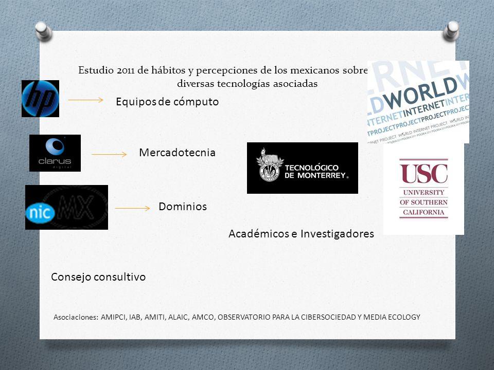 Estudio 2011 de hábitos y percepciones de los mexicanos sobre Internet y diversas tecnologías asociadas Dominios Mercadotecnia Equipos de cómputo Cons