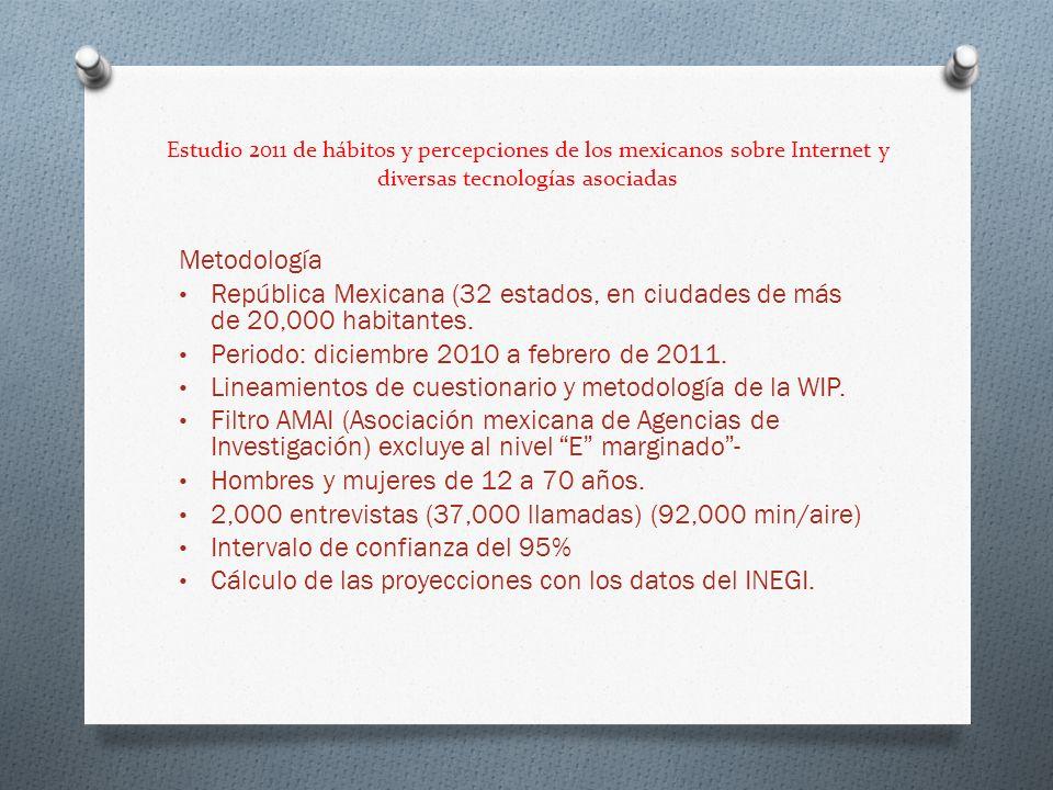 Estudio 2011 de hábitos y percepciones de los mexicanos sobre Internet y diversas tecnologías asociadas Metodología República Mexicana (32 estados, en ciudades de más de 20,000 habitantes.