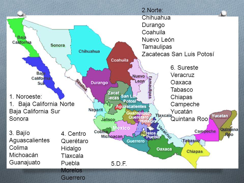 1. Noroeste: 1.Baja California Norte Baja California Sur Sonora 2.Norte: Chihuahua Durango Coahuila Nuevo León Tamaulipas Zacatecas San Luis Potosí 3.