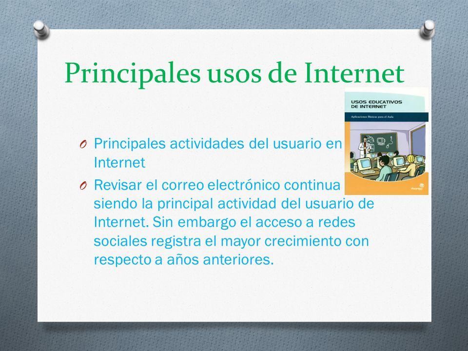 Principales usos de Internet O Principales actividades del usuario en Internet O Revisar el correo electrónico continua siendo la principal actividad