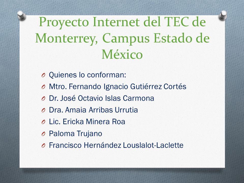 Proyecto Internet del TEC de Monterrey, Campus Estado de México O Quienes lo conforman: O Mtro. Fernando Ignacio Gutiérrez Cortés O Dr. José Octavio I