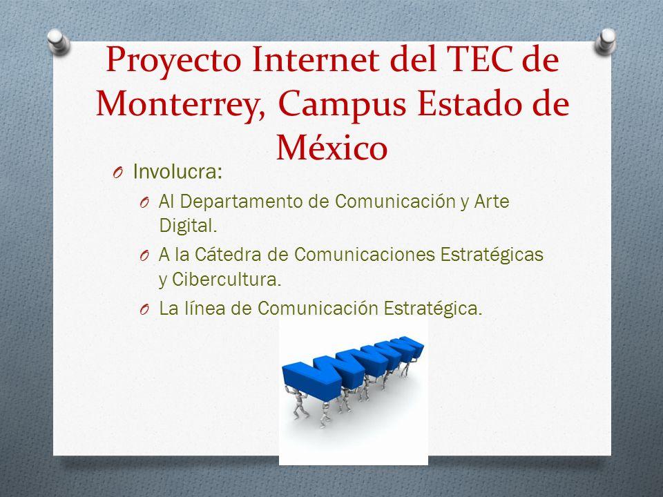 Proyecto Internet del TEC de Monterrey, Campus Estado de México O Involucra: O Al Departamento de Comunicación y Arte Digital. O A la Cátedra de Comun