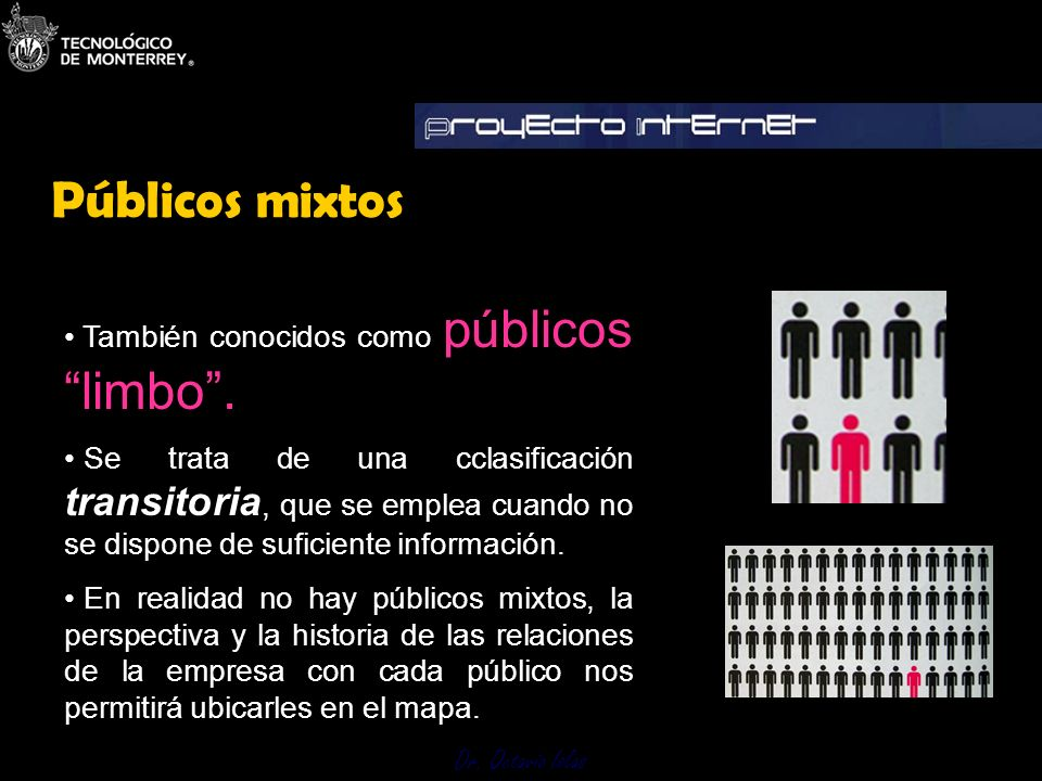 Dr. Octavio Islas También conocidos como públicoslimbo. Se trata de una cclasificación transitoria, que se emplea cuando no se dispone de suficiente i