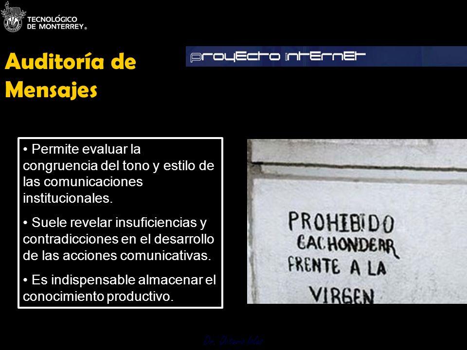 Dr. Octavio Islas Permite evaluar la congruencia del tono y estilo de las comunicaciones institucionales. Suele revelar insuficiencias y contradiccion