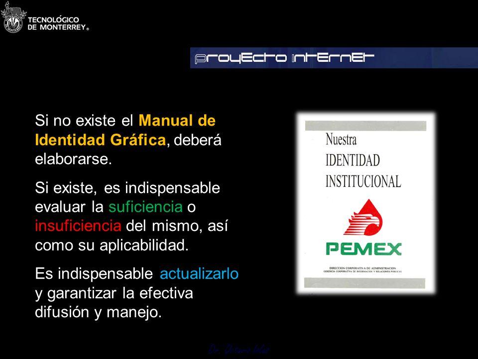 Dr. Octavio Islas Si no existe el Manual de Identidad Gráfica, deberá elaborarse. Si existe, es indispensable evaluar la suficiencia o insuficiencia d