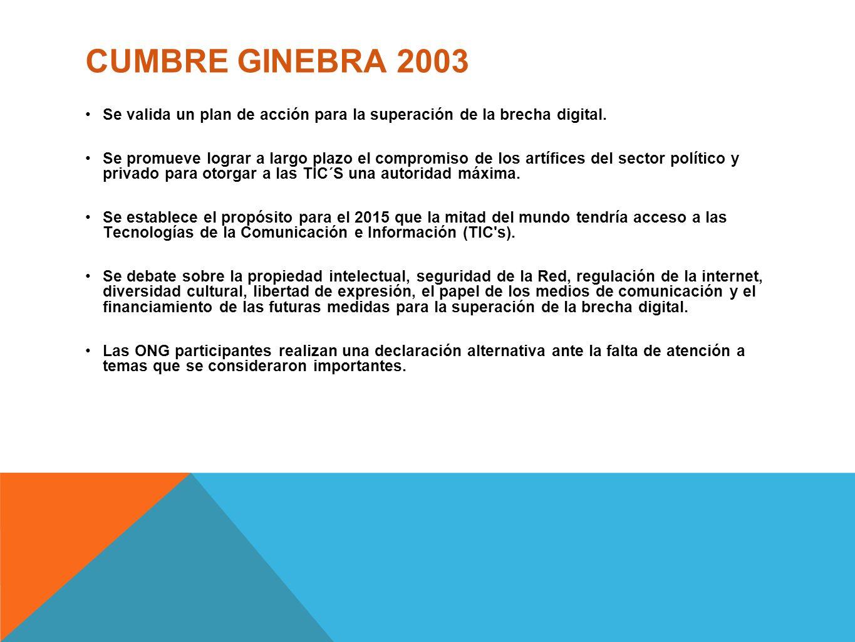 CUMBRE GINEBRA 2003 Se valida un plan de acción para la superación de la brecha digital. Se promueve lograr a largo plazo el compromiso de los artífic