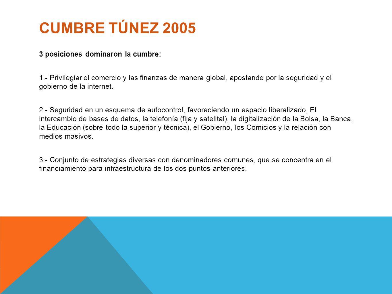 CUMBRE TÚNEZ 2005 3 posiciones dominaron la cumbre: 1.- Privilegiar el comercio y las finanzas de manera global, apostando por la seguridad y el gobie