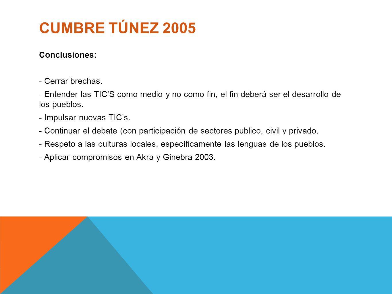 CUMBRE TÚNEZ 2005 Conclusiones: - Cerrar brechas. - Entender las TICS como medio y no como fin, el fin deberá ser el desarrollo de los pueblos. - Impu