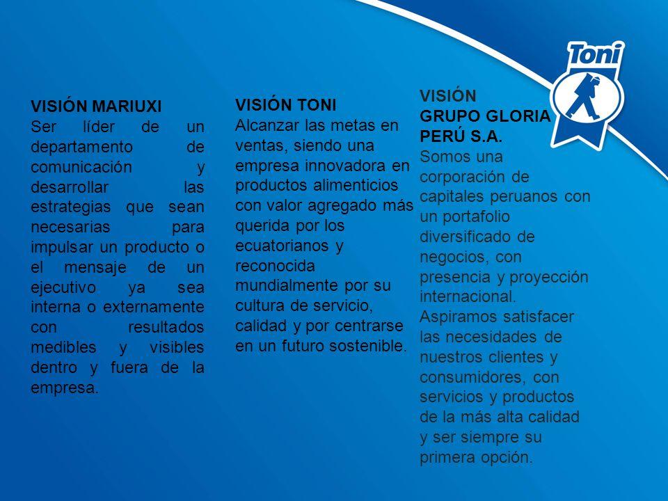 VISIÓN MARIUXI Ser líder de un departamento de comunicación y desarrollar las estrategias que sean necesarias para impulsar un producto o el mensaje d