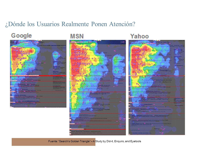 19 ¿Dónde los Usuarios Realmente Ponen Atención? Fuente: Searchs Golden Triangle – A Study by Did-it, Enquiro, and Eyetools