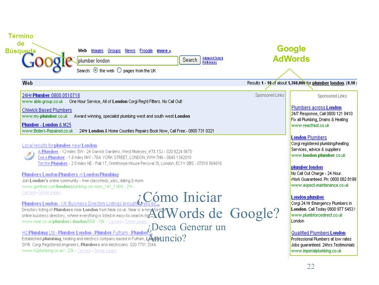 22 Término de Búsqueda Google AdWords ¿Cómo Iniciar AdWords de Google? ¿Desea Generar un Anuncio?