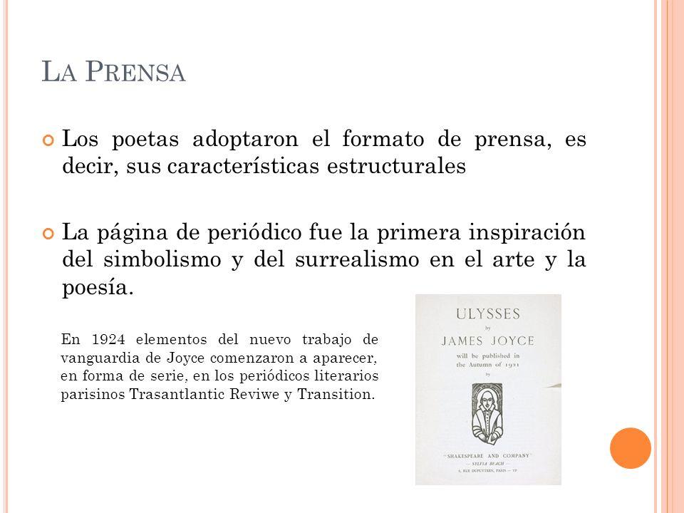 L A P RENSA Los poetas adoptaron el formato de prensa, es decir, sus características estructurales La página de periódico fue la primera inspiración d