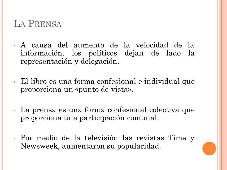 L A P RENSA A causa del aumento de la velocidad de la información, los políticos dejan de lado la representación y delegación. El libro es una forma c