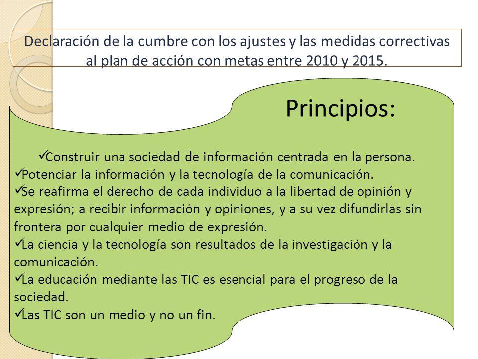 Declaración de la cumbre con los ajustes y las medidas correctivas al plan de acción con metas entre 2010 y 2015. Construir una sociedad de informació