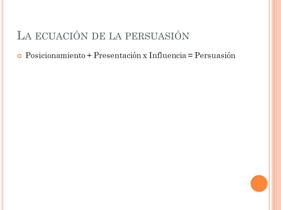 L A ECUACIÓN DE LA PERSUASIÓN Posicionamiento + Presentación x Influencia = Persuasión