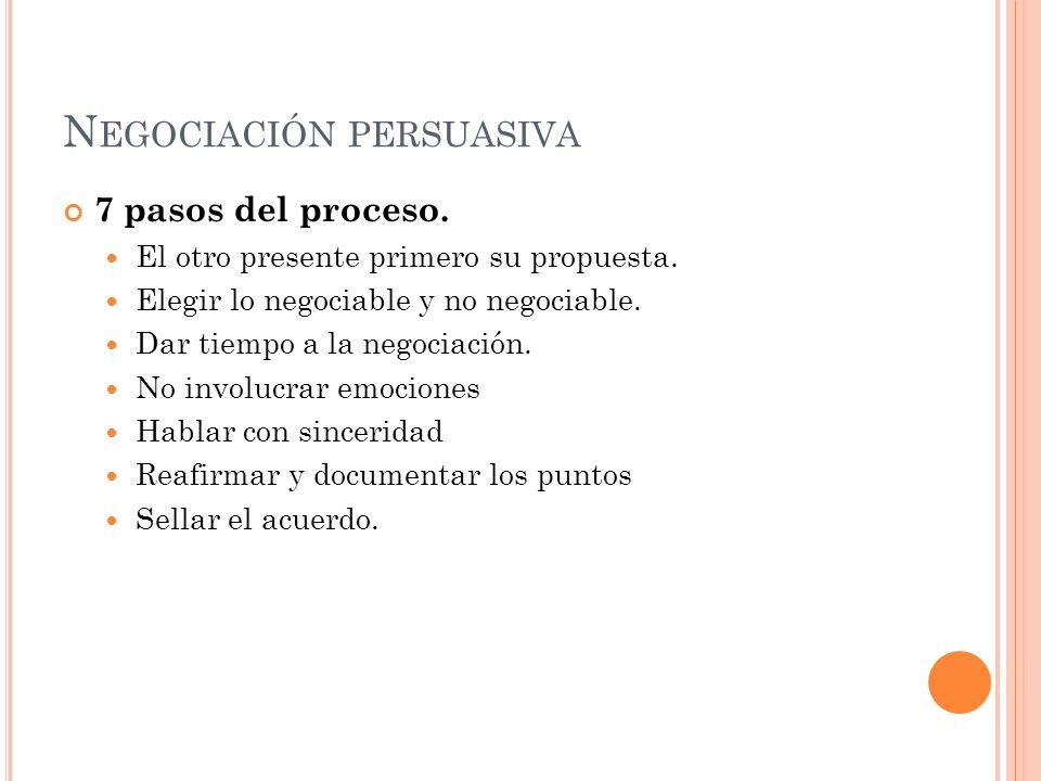 N EGOCIACIÓN PERSUASIVA 7 pasos del proceso. El otro presente primero su propuesta.