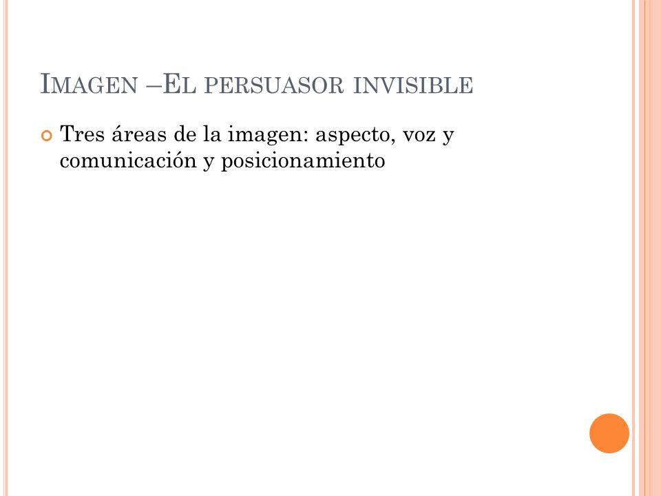 I MAGEN –E L PERSUASOR INVISIBLE Tres áreas de la imagen: aspecto, voz y comunicación y posicionamiento