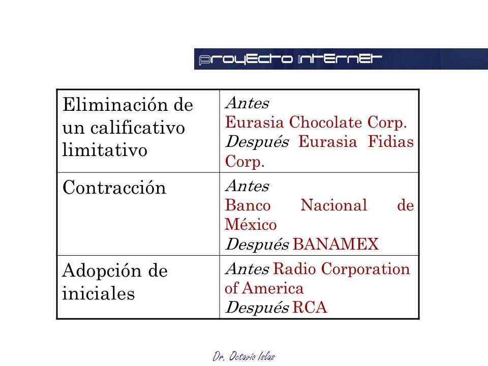 Dr. Octavio Islas Eliminación de un calificativo limitativo Antes Eurasia Chocolate Corp.