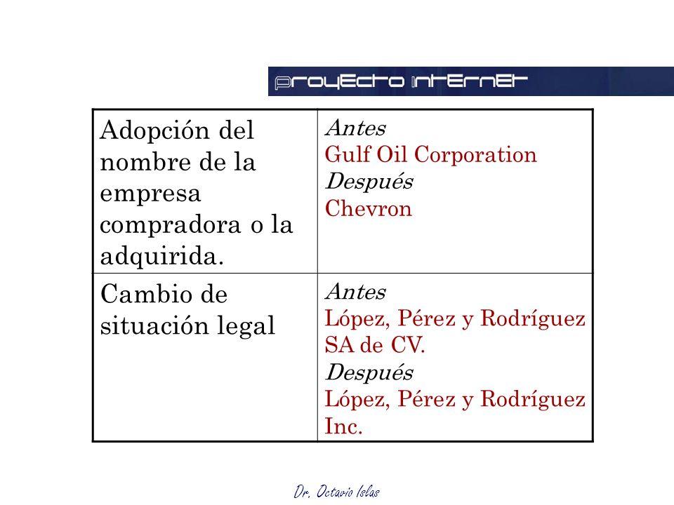 Dr. Octavio Islas Adopción del nombre de la empresa compradora o la adquirida.