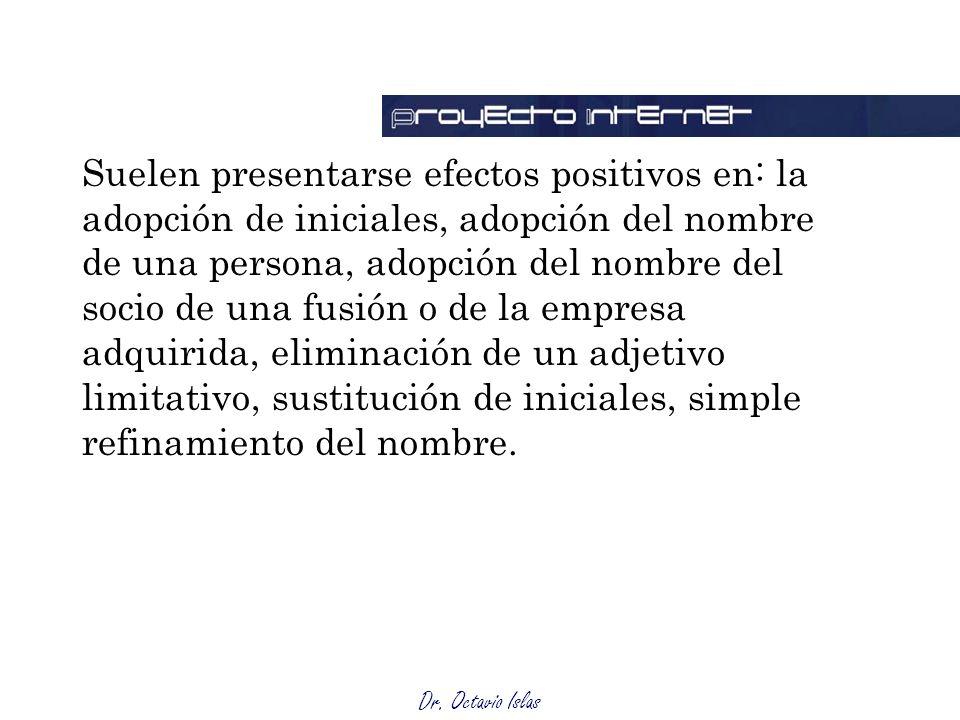 Dr. Octavio Islas Suelen presentarse efectos positivos en: la adopción de iniciales, adopción del nombre de una persona, adopción del nombre del socio