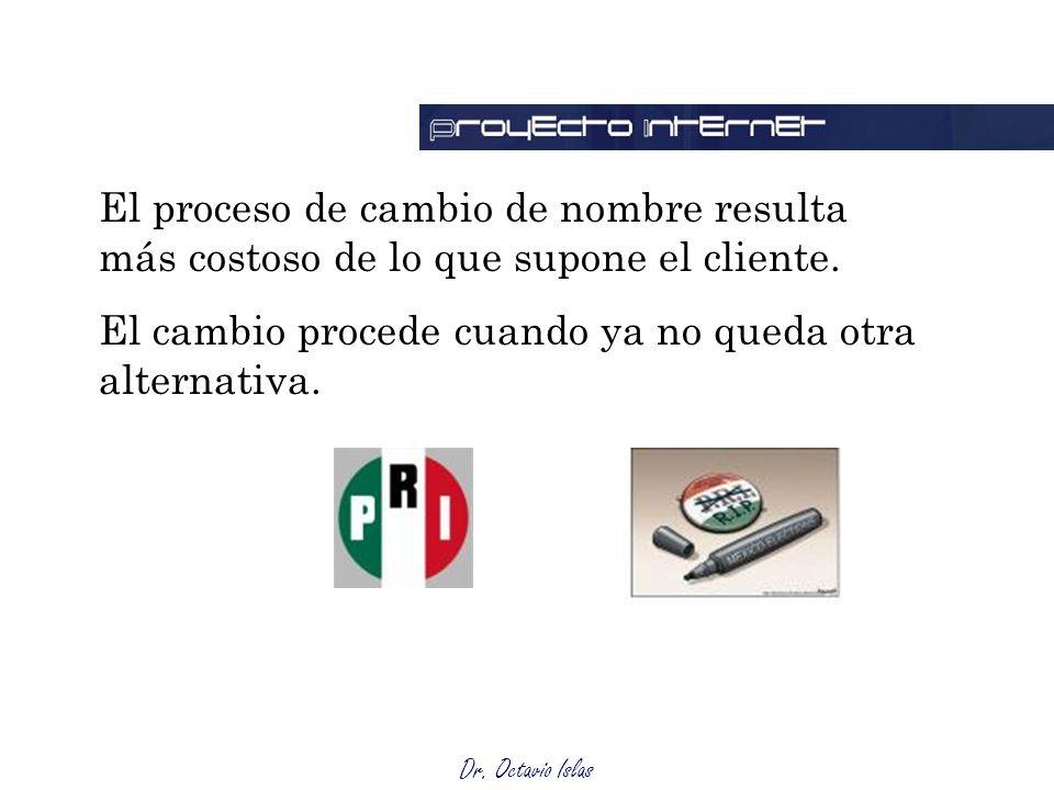 Dr. Octavio Islas El proceso de cambio de nombre resulta más costoso de lo que supone el cliente.