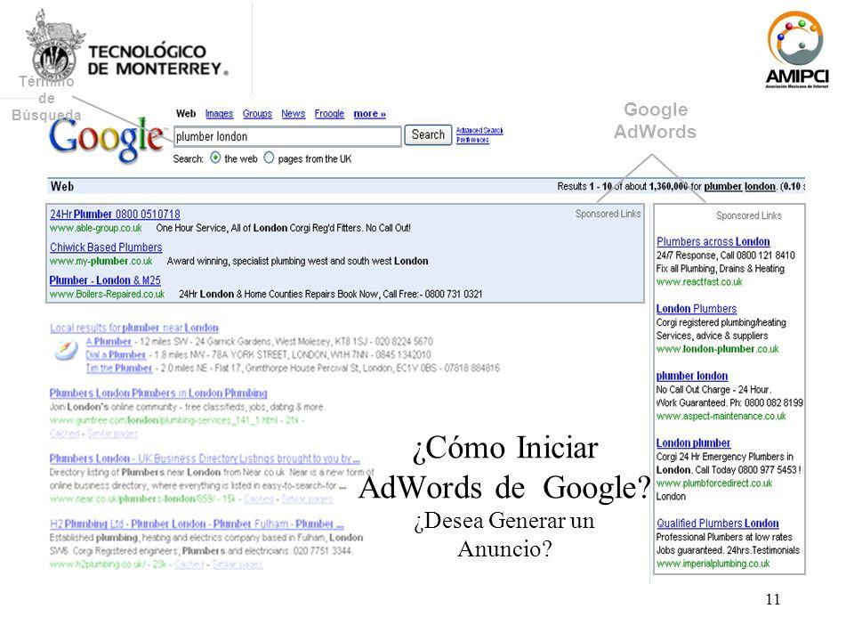 11 Término de Búsqueda Google AdWords ¿Cómo Iniciar AdWords de Google? ¿Desea Generar un Anuncio?