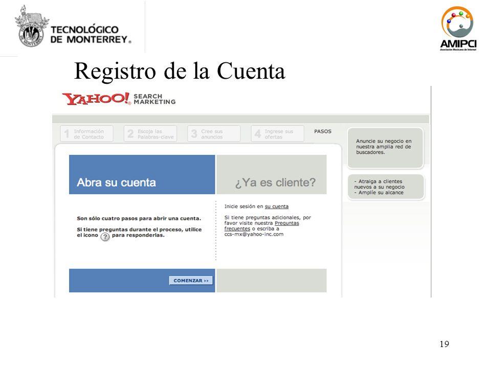 19 Registro de la Cuenta