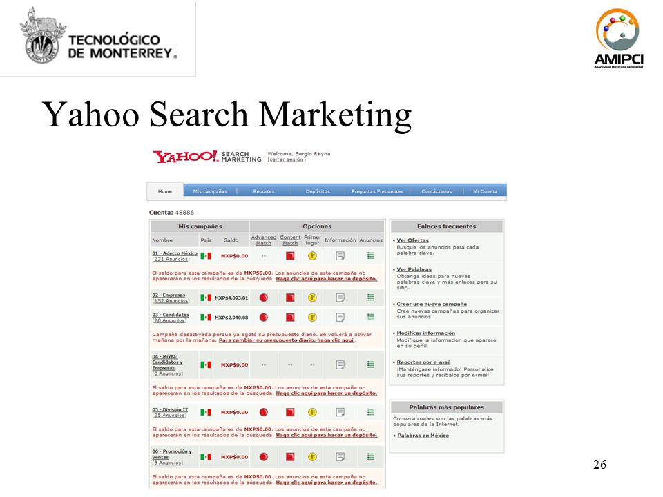 26 Yahoo Search Marketing