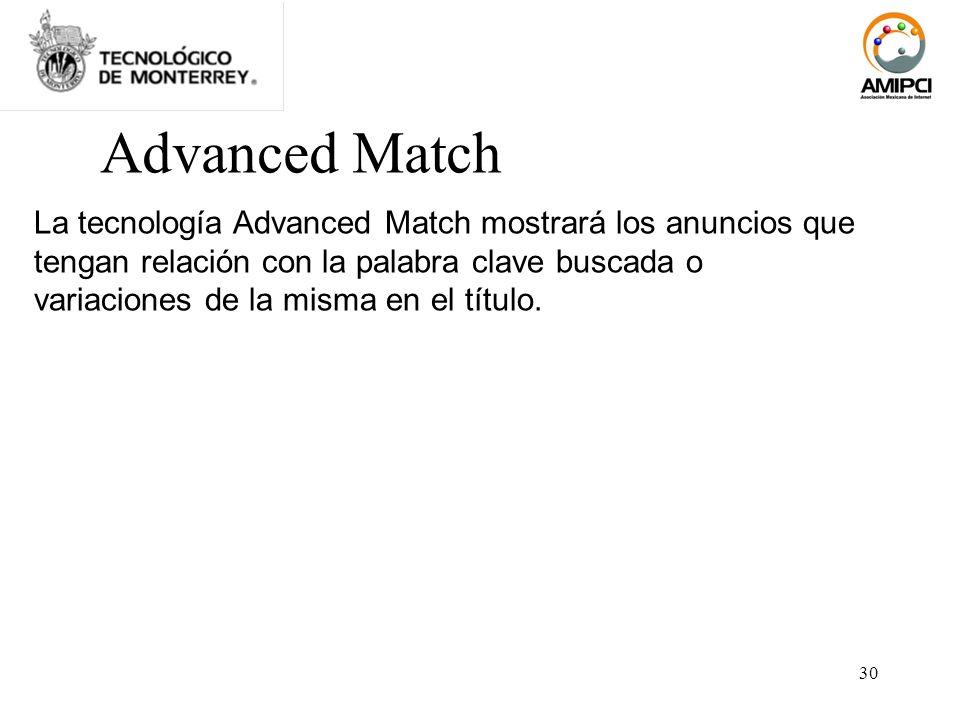30 Advanced Match La tecnología Advanced Match mostrará los anuncios que tengan relación con la palabra clave buscada o variaciones de la misma en el