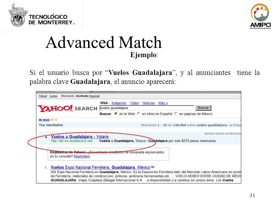 31 Ejemplo: Si el usuario busca por Vuelos Guadalajara, y al anunciantes tiene la palabra clave Guadalajara, el anuncio aparecerá: Advanced Match