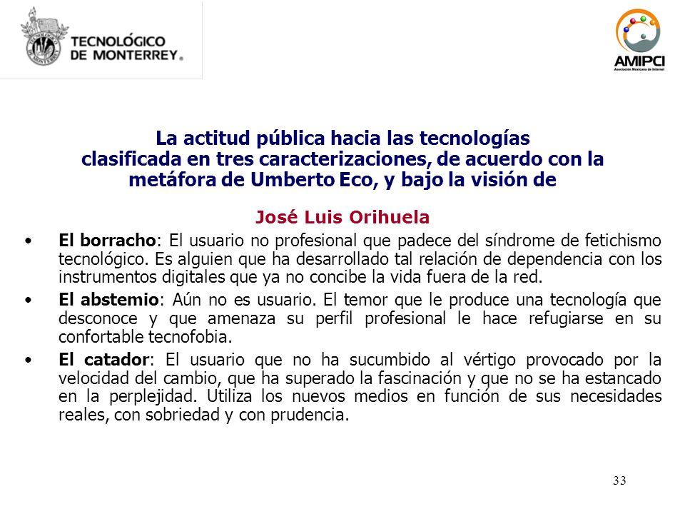 33 La actitud pública hacia las tecnologías clasificada en tres caracterizaciones, de acuerdo con la metáfora de Umberto Eco, y bajo la visión de José