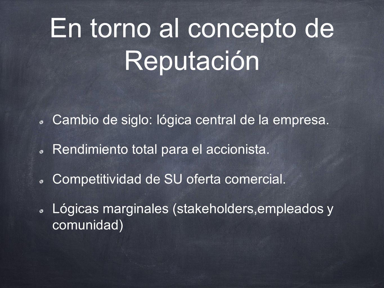 En torno al concepto de Reputación Reputación Corporativa: Armonía entre la lógica central de la empresa(resultados económico- financieros) y la Fortaleza de SU oferta comercial.