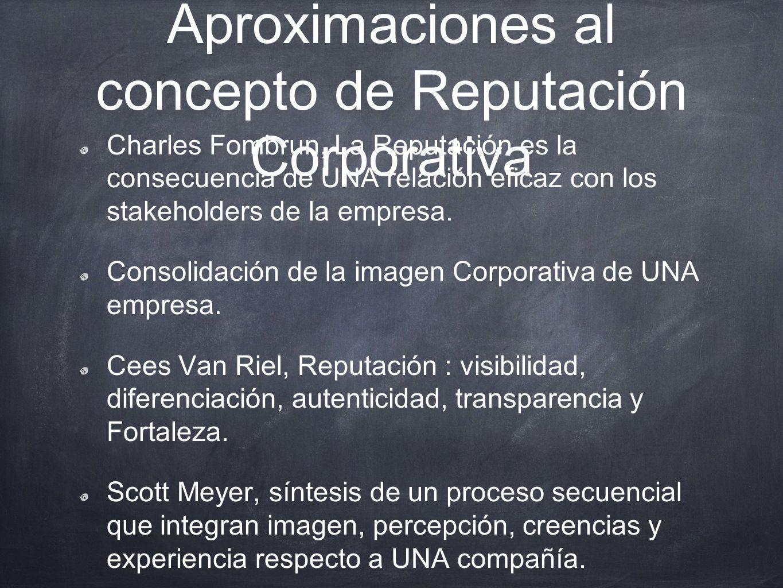 Aproximaciones al concepto de Reputación Corporativa Charles Fombrun, La Reputación es la consecuencia de UNA relación eficaz con los stakeholders de