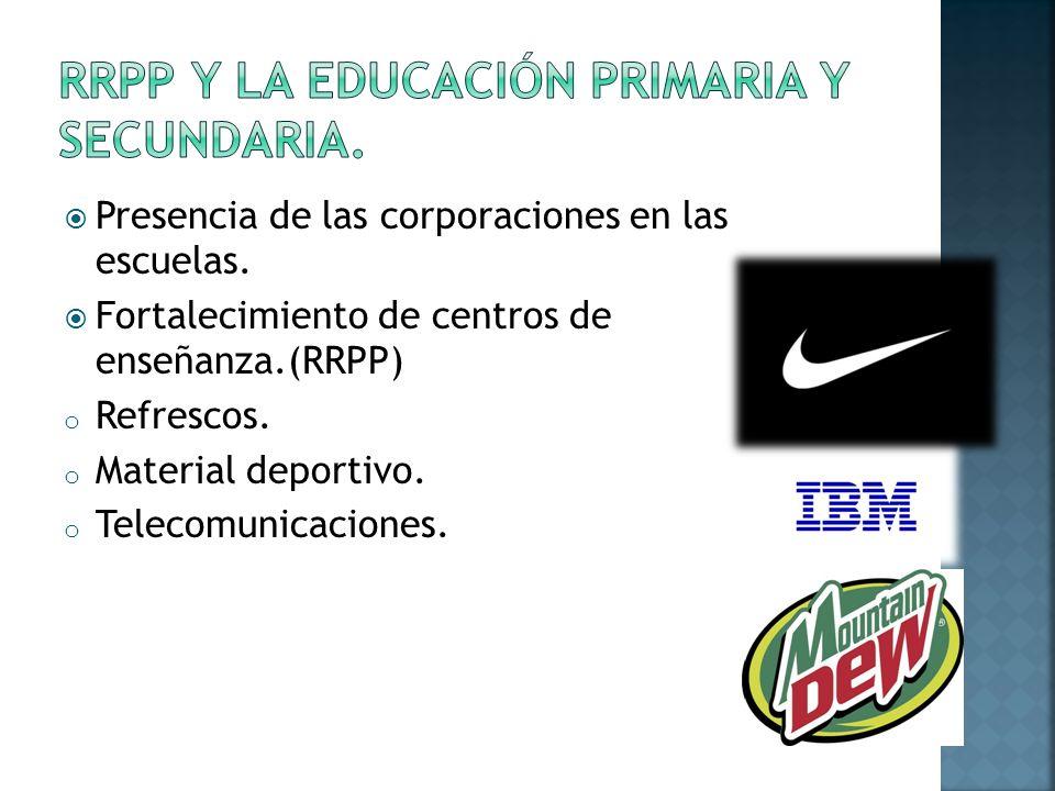 Presencia de las corporaciones en las escuelas.