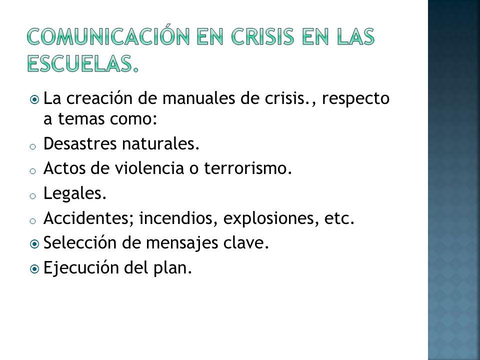 La creación de manuales de crisis., respecto a temas como: o Desastres naturales.