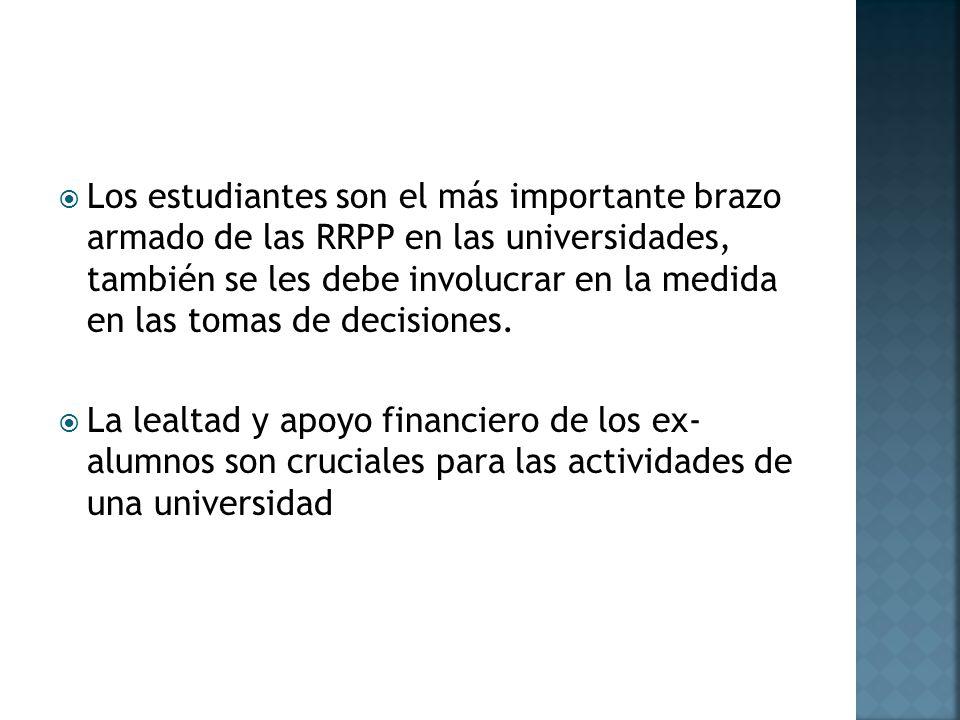 Los estudiantes son el más importante brazo armado de las RRPP en las universidades, también se les debe involucrar en la medida en las tomas de decisiones.