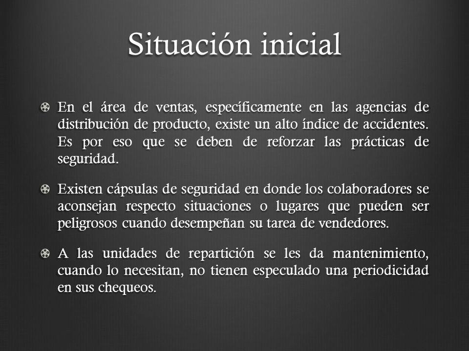 Situación inicial En el área de ventas, específicamente en las agencias de distribución de producto, existe un alto índice de accidentes.