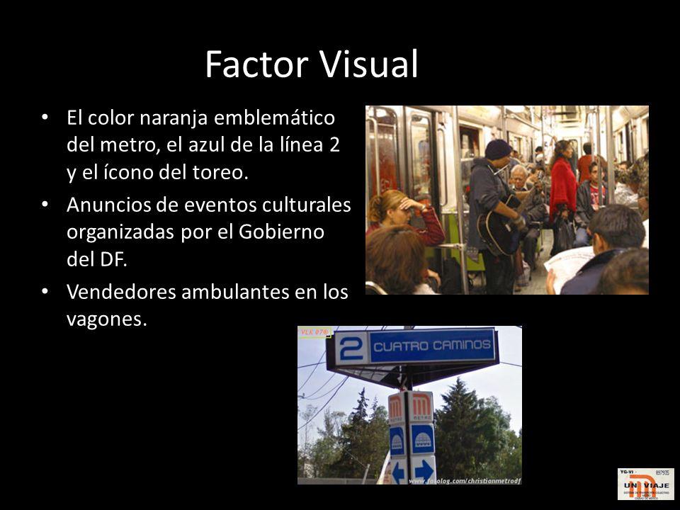 Factor Visual El color naranja emblemático del metro, el azul de la línea 2 y el ícono del toreo.
