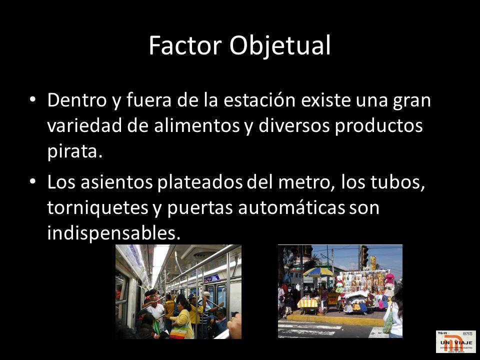 Factor Objetual Dentro y fuera de la estación existe una gran variedad de alimentos y diversos productos pirata.