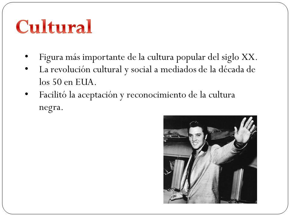 Figura más importante de la cultura popular del siglo XX. La revolución cultural y social a mediados de la década de los 50 en EUA. Facilitó la acepta