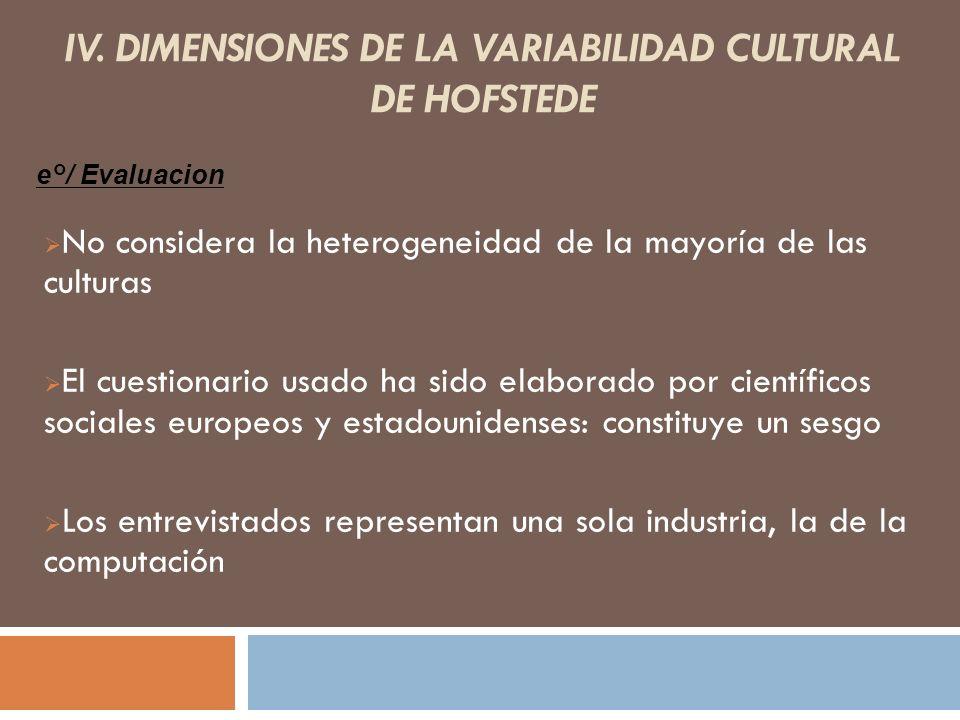 IV. DIMENSIONES DE LA VARIABILIDAD CULTURAL DE HOFSTEDE No considera la heterogeneidad de la mayoría de las culturas El cuestionario usado ha sido ela