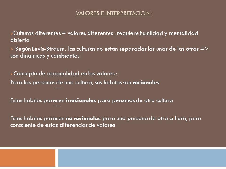VALORES E INTERPRETACION : Culturas diferentes = valores diferentes : requiere humildad y mentalidad abierta Según Levis-Strauss : las culturas no est
